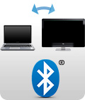 Bluetooth logo with Macbook and iMac