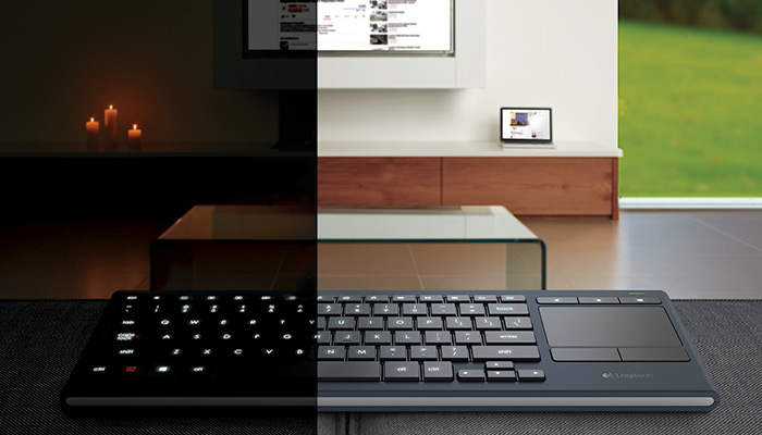 Illuminated Living-room keyboard, half in low light have in bright light