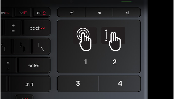 K830 Touchpad gestures