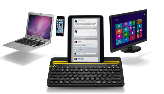 K480 with Macbook, monitor with Windows display, iPhone and tablet