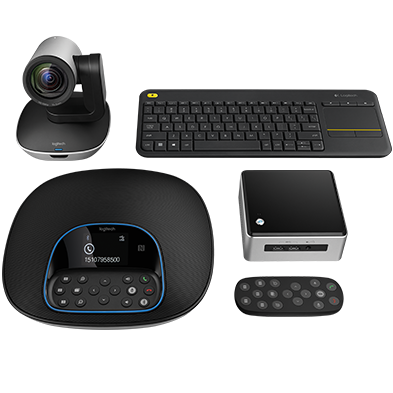 Group of products, keyboard, conference cam, remote