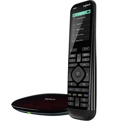 Angled-view Harmony Elite universal remote control, hub and app